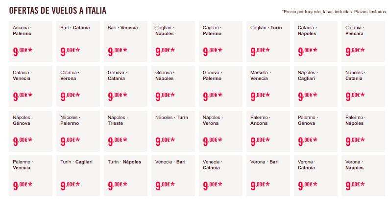 Vuelos low cost a Italia
