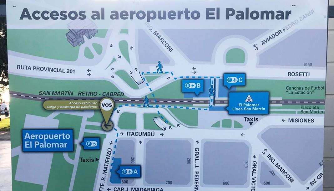 Accesos a el aeropuerto El Palomar