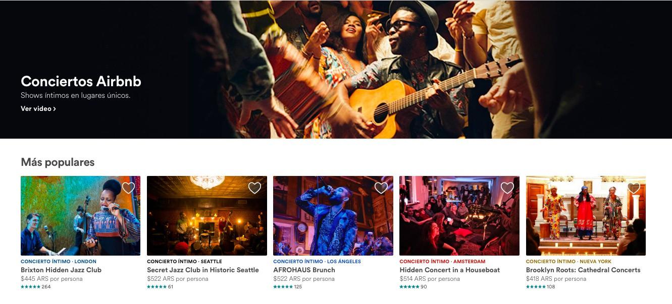 Airbnb ahora ofrece a sus usuarios conciertos exclusivos