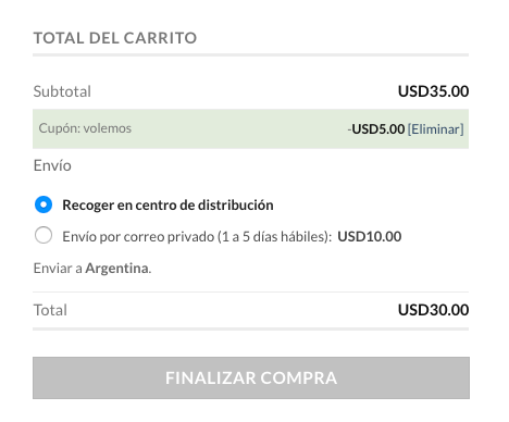 Ingresando el cupón para obtener el descuento de USD 5 en el chip HolaSim Dominicana