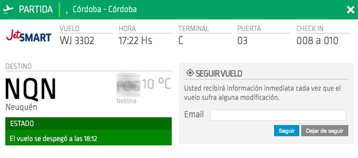 Rutas JetSmart: Córdoba – Neuquén