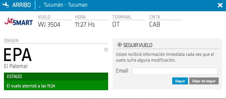 Rutas JetSmart: Tucumán – El Palomar