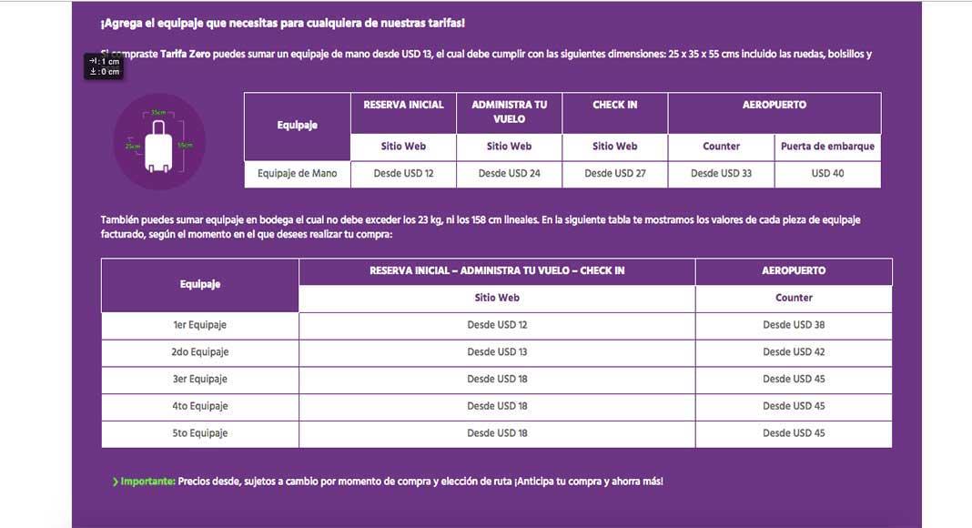 costos de equipaje de Sky Airlines