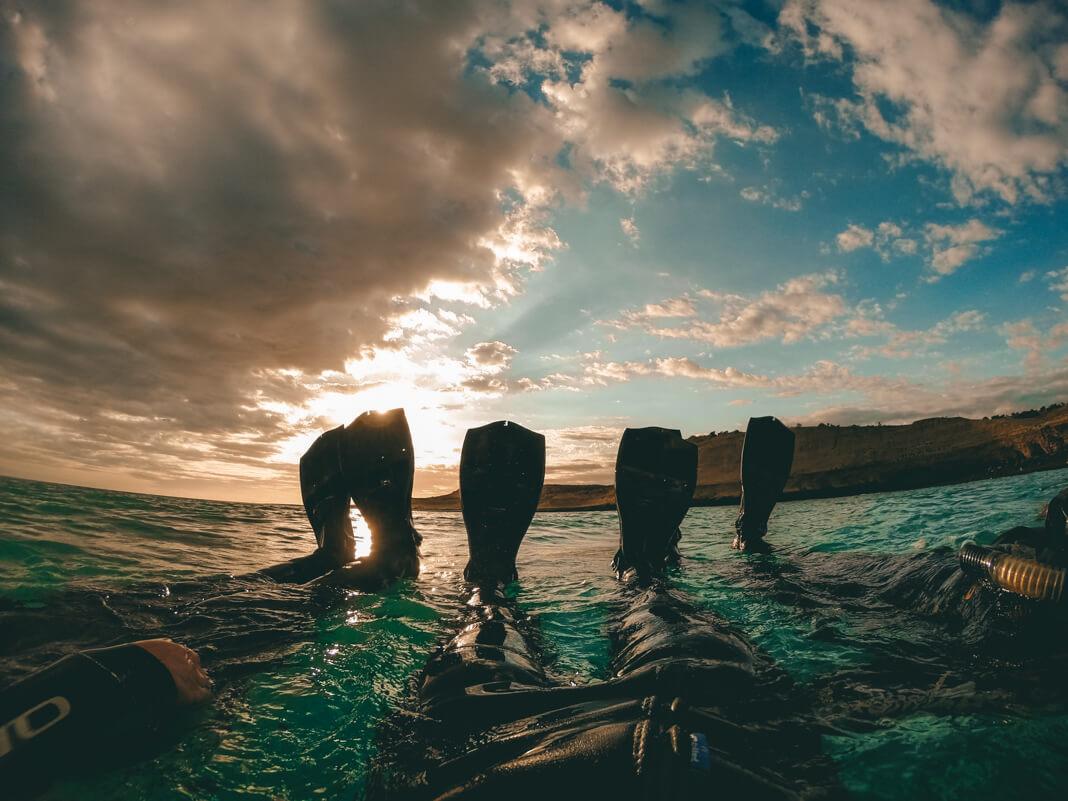 Nadando en Punta Loma, Puerto Madryn.